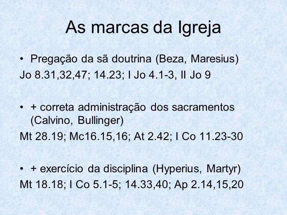 As marcas da Igreja Pregação da sã doutrina (Beza, Maresius)