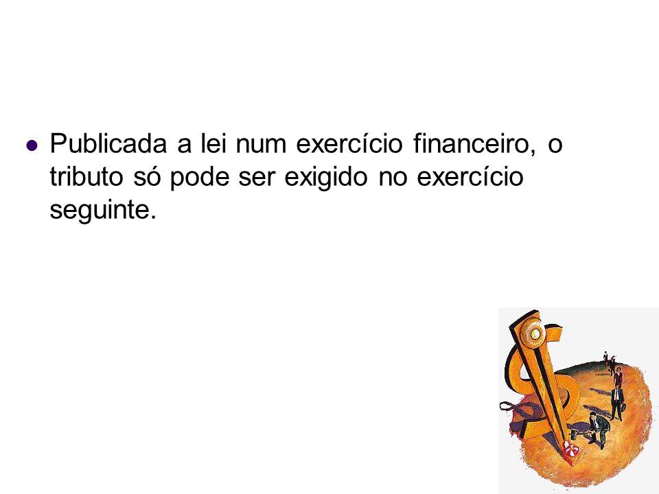 Publicada a lei num exercício financeiro, o tributo só pode ser exigido no exercício seguinte.