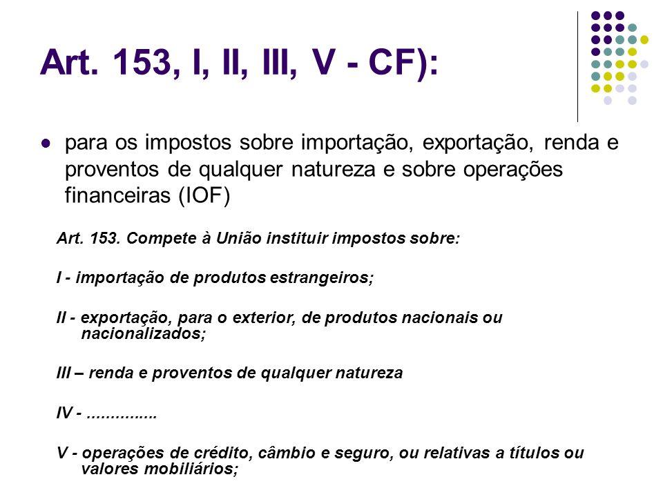 Art. 153, I, II, III, V - CF):