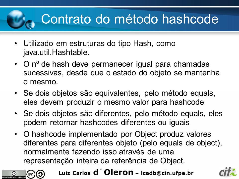 Contrato do método hashcode