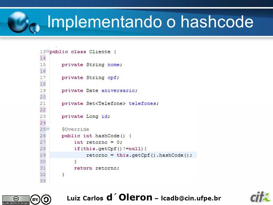 Implementando o hashcode
