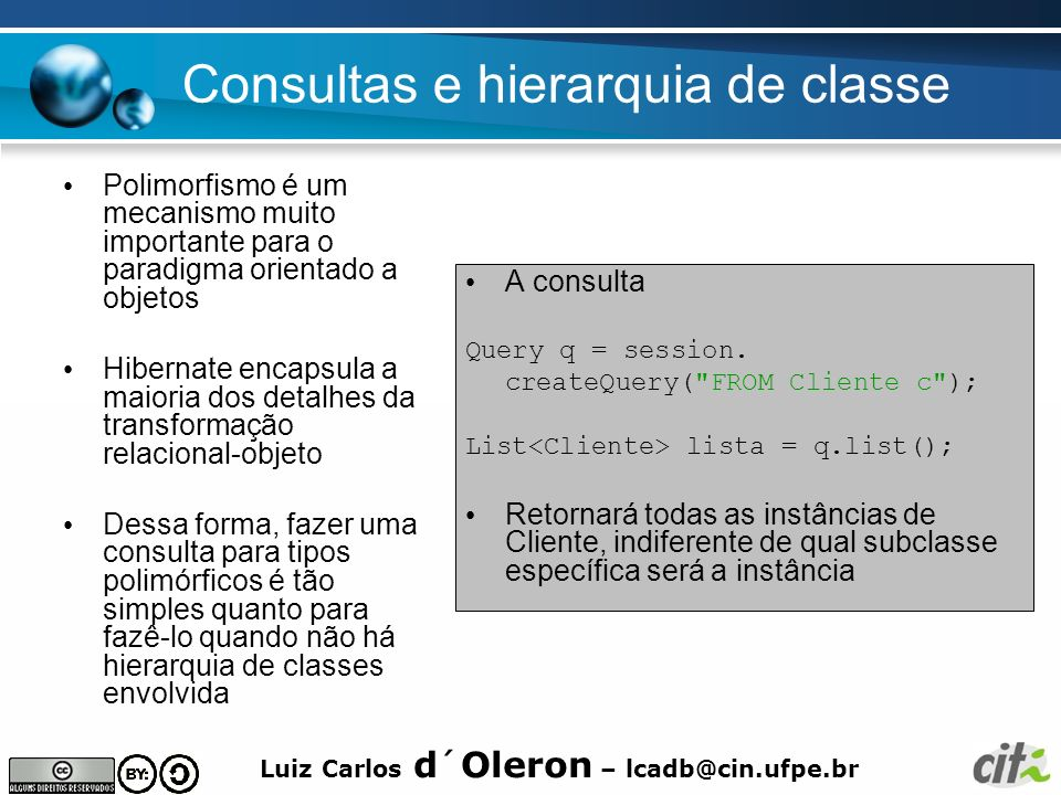 Consultas e hierarquia de classe
