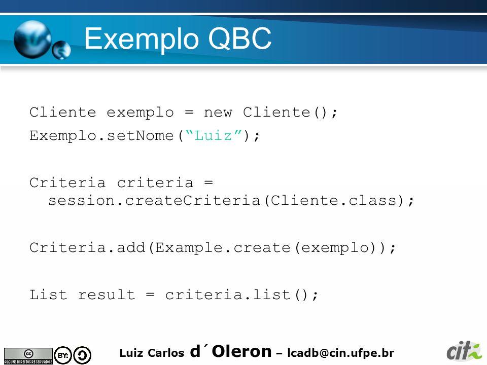 Exemplo QBC Cliente exemplo = new Cliente(); Exemplo.setNome( Luiz );
