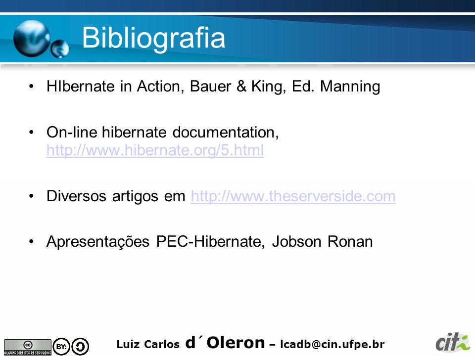 Bibliografia HIbernate in Action, Bauer & King, Ed. Manning