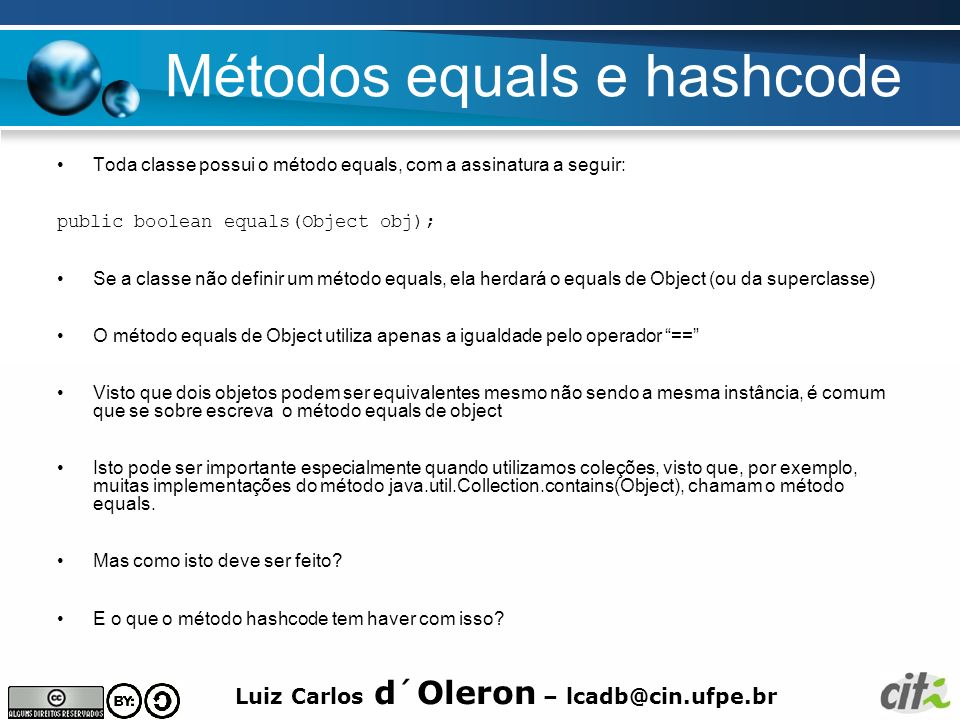 Métodos equals e hashcode