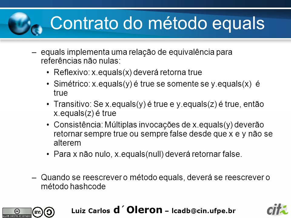 Contrato do método equals