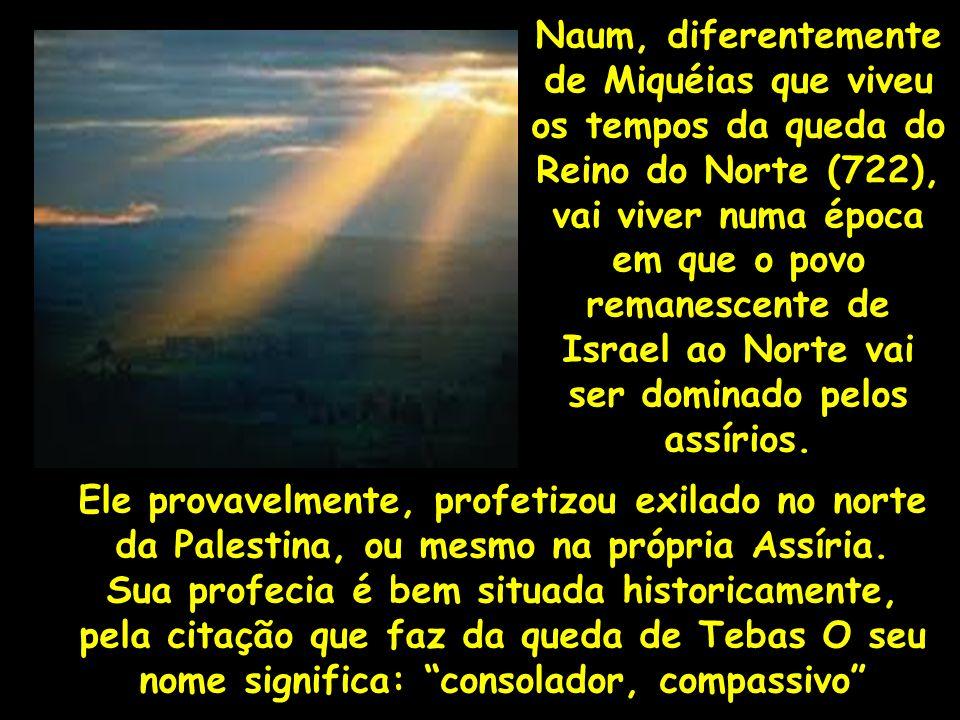 Naum, diferentemente de Miquéias que viveu os tempos da queda do Reino do Norte (722), vai viver numa época em que o povo remanescente de Israel ao Norte vai ser dominado pelos assírios.