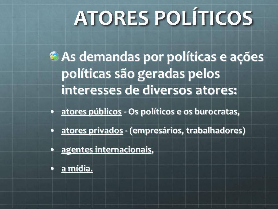 ATORES POLÍTICOSAs demandas por políticas e ações políticas são geradas pelos interesses de diversos atores: