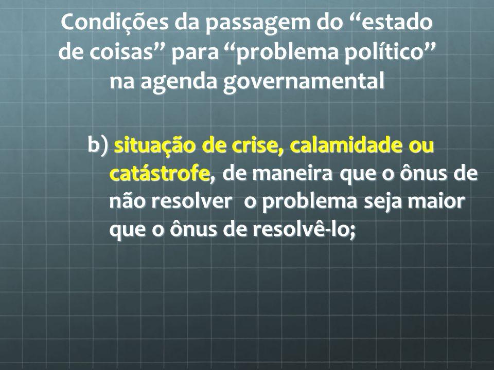 Condições da passagem do estado de coisas para problema político na agenda governamental