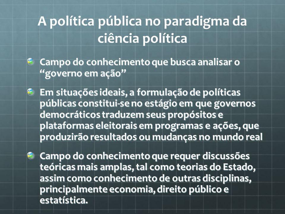 A política pública no paradigma da ciência política
