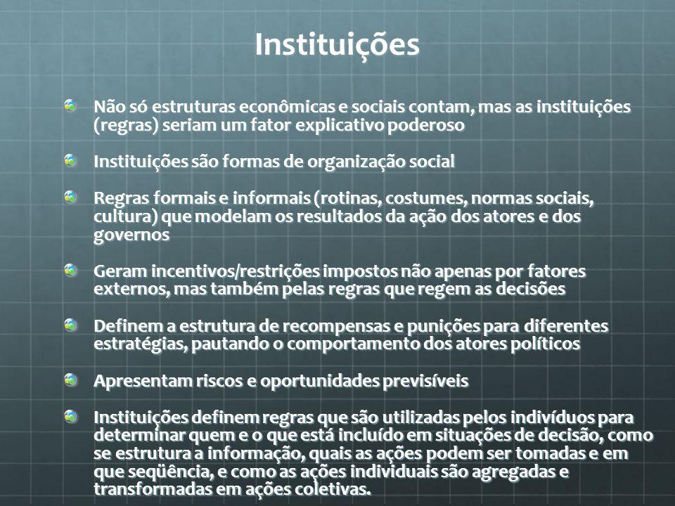 Instituições Não só estruturas econômicas e sociais contam, mas as instituições (regras) seriam um fator explicativo poderoso.