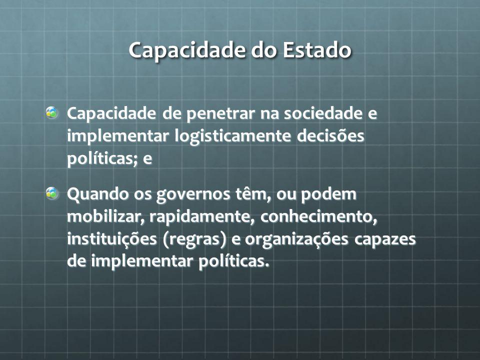 Capacidade do Estado Capacidade de penetrar na sociedade e implementar logisticamente decisões políticas; e.