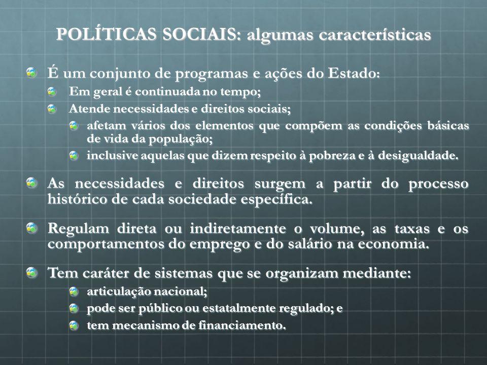 POLÍTICAS SOCIAIS: algumas características