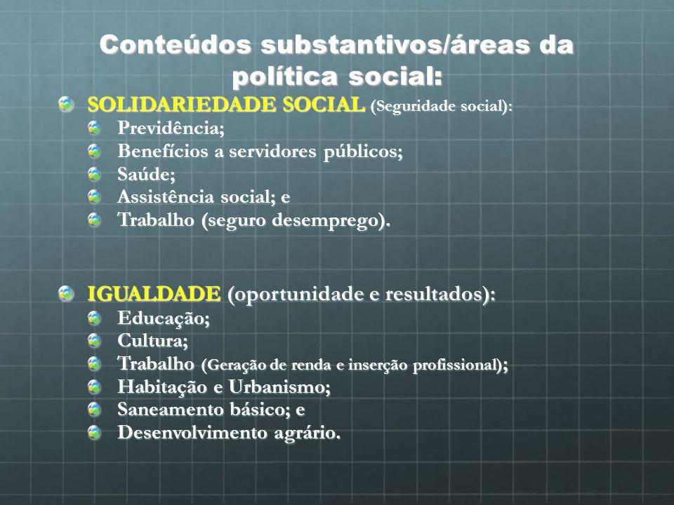 Conteúdos substantivos/áreas da política social: