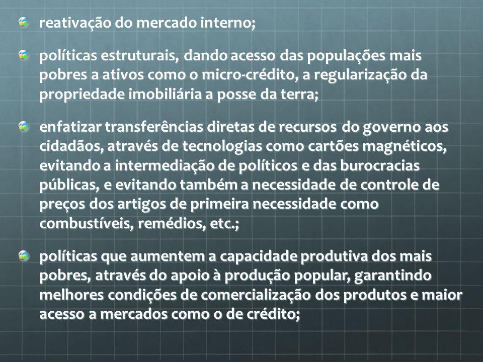 reativação do mercado interno;
