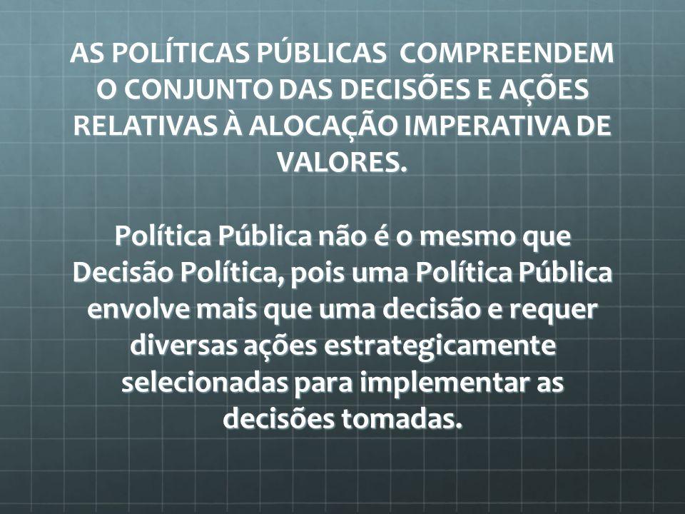 AS POLÍTICAS PÚBLICAS COMPREENDEM O CONJUNTO DAS DECISÕES E AÇÕES RELATIVAS À ALOCAÇÃO IMPERATIVA DE VALORES.