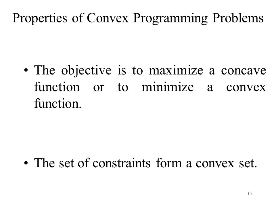 Properties of Convex Programming Problems