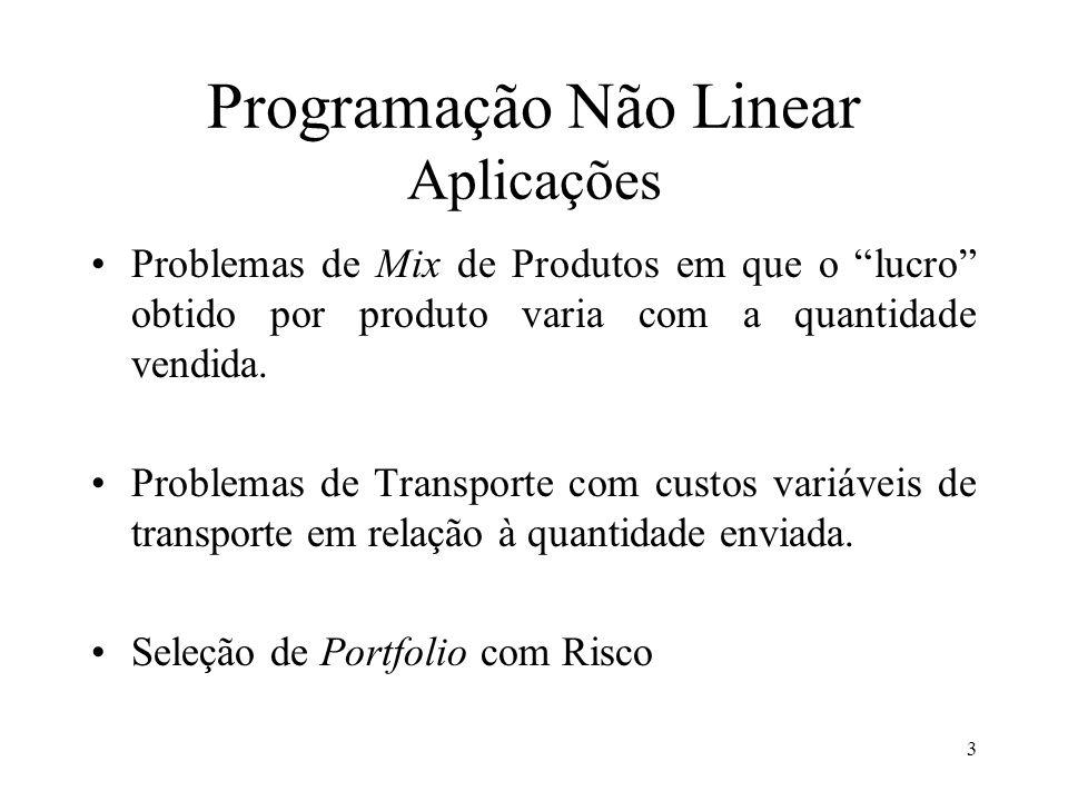 Programação Não Linear Aplicações