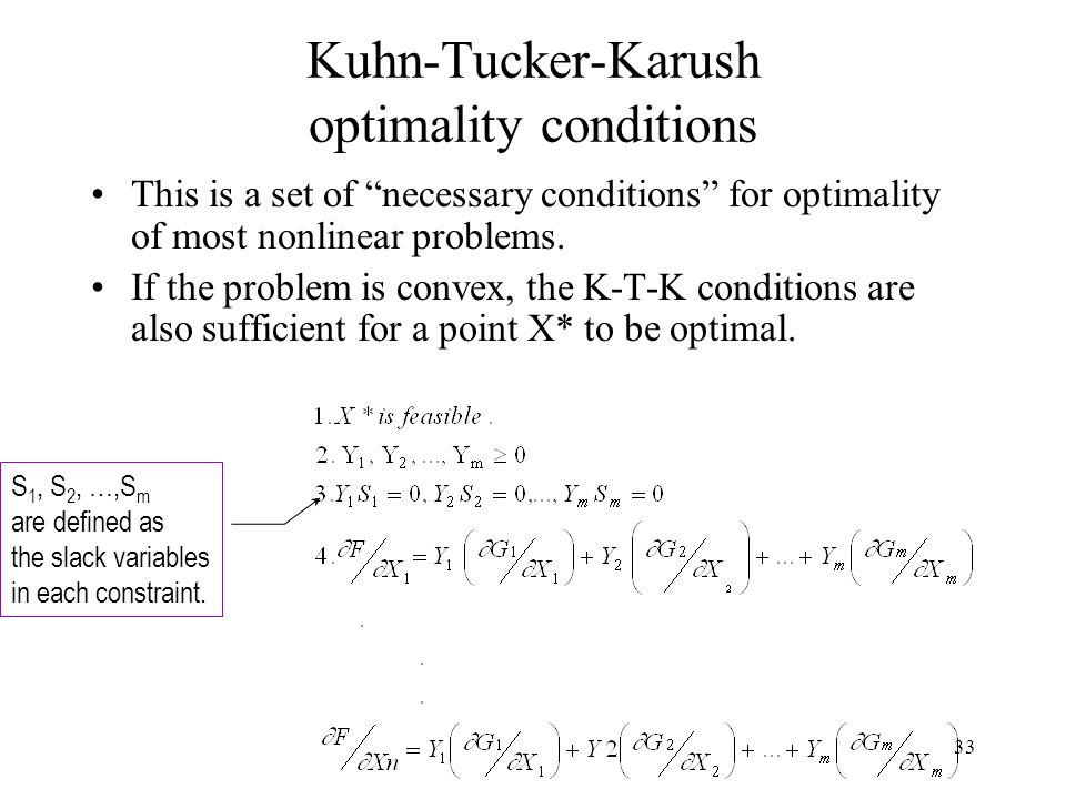 Kuhn-Tucker-Karush optimality conditions