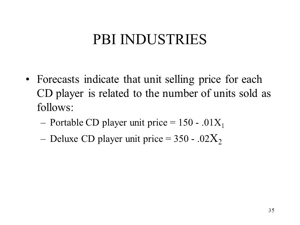 PBI INDUSTRIES Forecasts indicate that unit selling price for each CD player is related to the number of units sold as follows:
