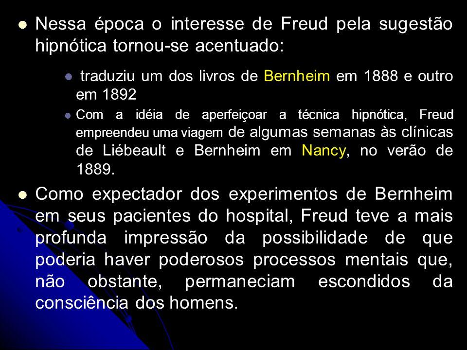 Nessa época o interesse de Freud pela sugestão hipnótica tornou-se acentuado: