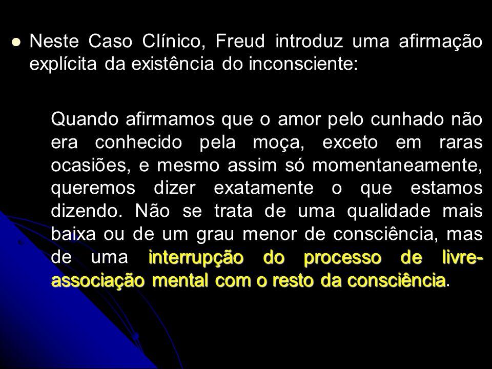 Neste Caso Clínico, Freud introduz uma afirmação explícita da existência do inconsciente: