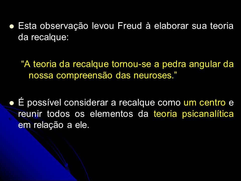 Esta observação levou Freud à elaborar sua teoria da recalque: