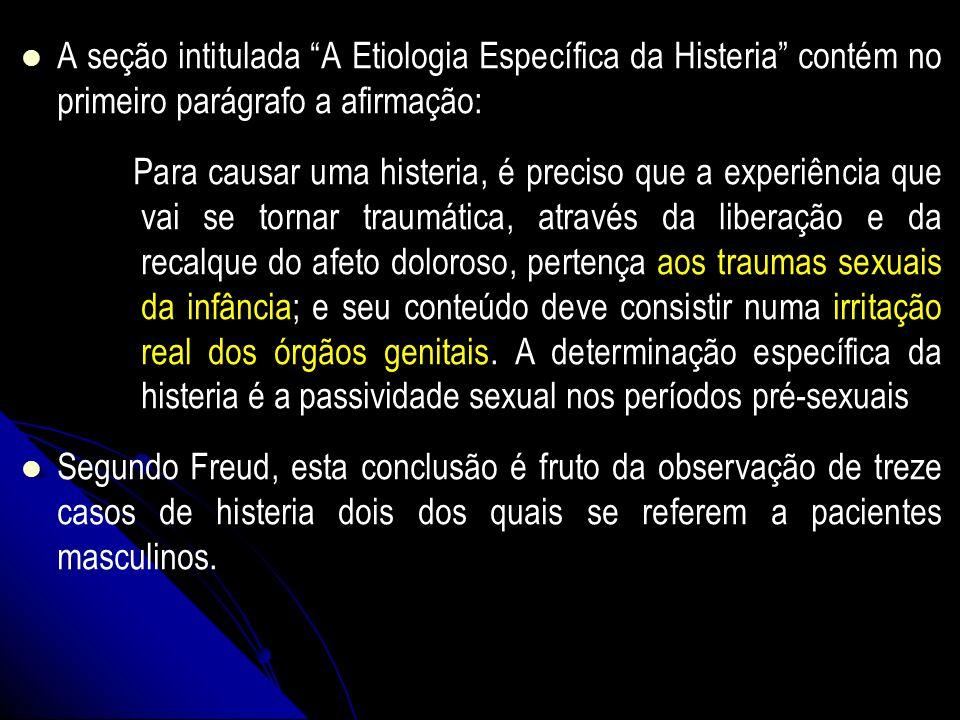 A seção intitulada A Etiologia Específica da Histeria contém no primeiro parágrafo a afirmação: