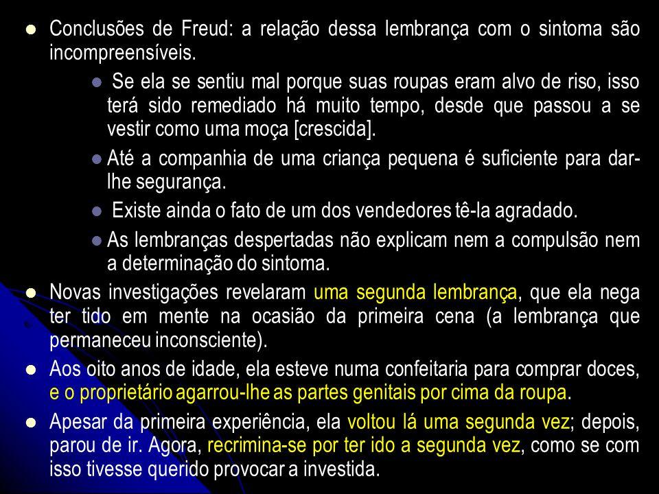 Conclusões de Freud: a relação dessa lembrança com o sintoma são incompreensíveis.