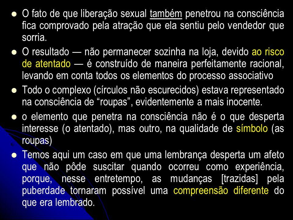 O fato de que liberação sexual também penetrou na consciência fica comprovado pela atração que ela sentiu pelo vendedor que sorria.