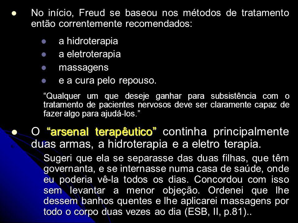 No início, Freud se baseou nos métodos de tratamento então correntemente recomendados: