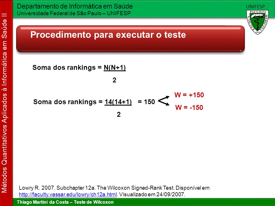 Soma dos rankings = N(N+1) Soma dos rankings = 14(14+1) = 150