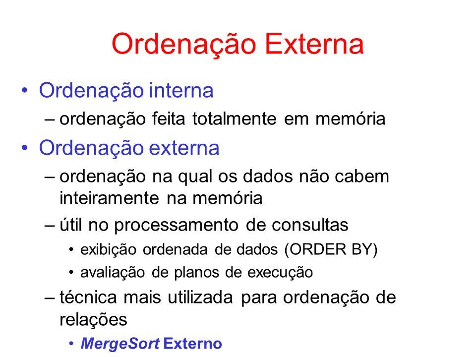 Ordenação Externa Ordenação interna Ordenação externa