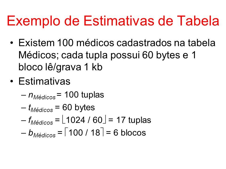 Exemplo de Estimativas de Tabela