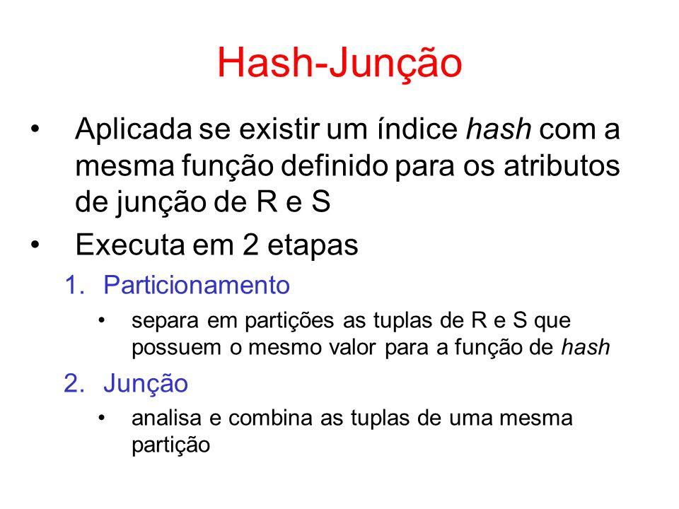 Hash-Junção Aplicada se existir um índice hash com a mesma função definido para os atributos de junção de R e S.