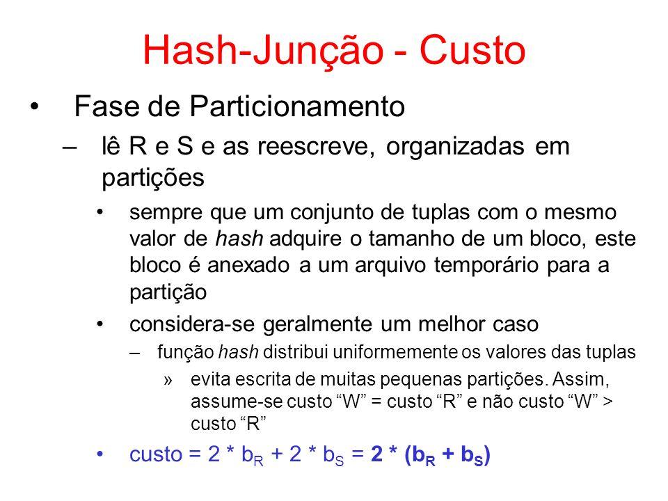 Hash-Junção - Custo Fase de Particionamento
