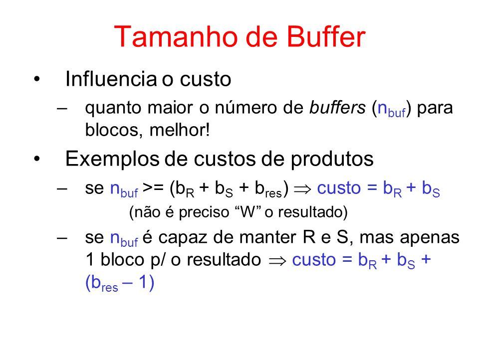 Tamanho de Buffer Influencia o custo Exemplos de custos de produtos