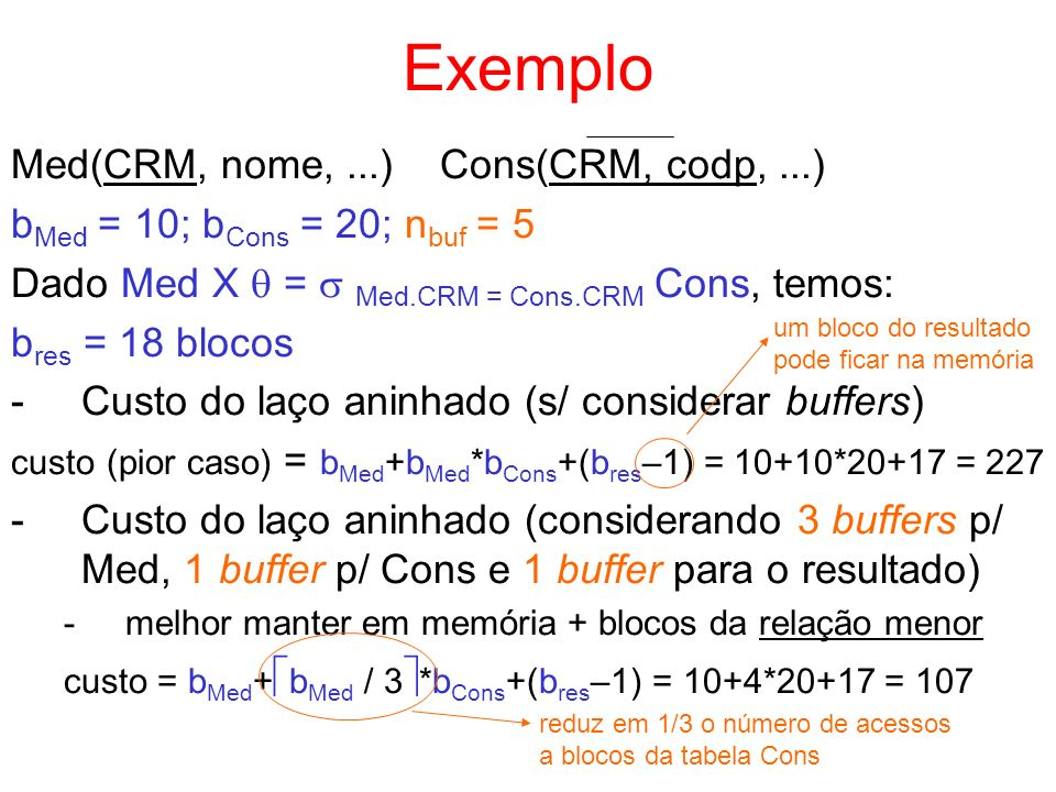 Exemplo Med(CRM, nome, ...) Cons(CRM, codp, ...)
