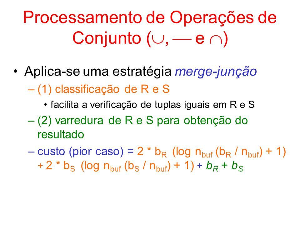 Processamento de Operações de Conjunto (,  e )