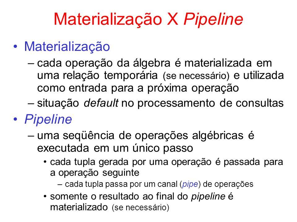 Materialização X Pipeline