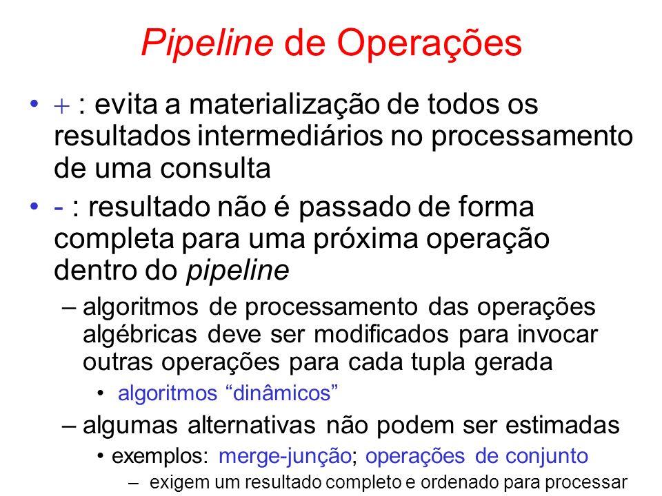 Pipeline de Operações  : evita a materialização de todos os resultados intermediários no processamento de uma consulta.