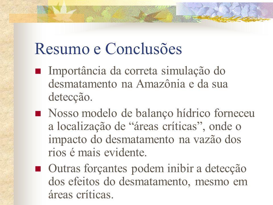 Resumo e Conclusões Importância da correta simulação do desmatamento na Amazônia e da sua detecção.