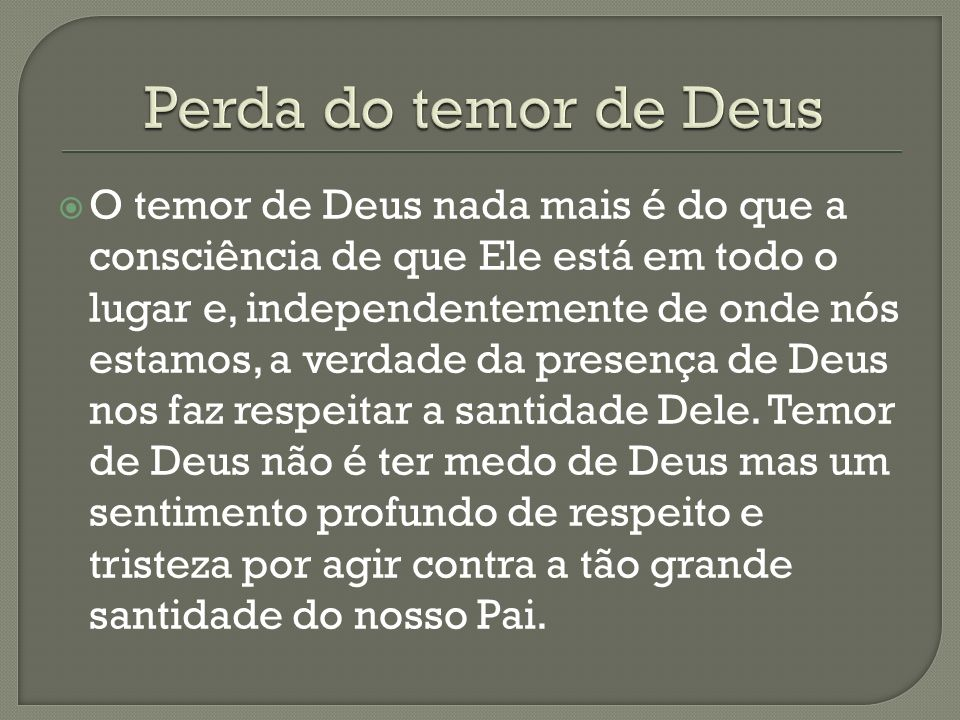 Perda do temor de Deus