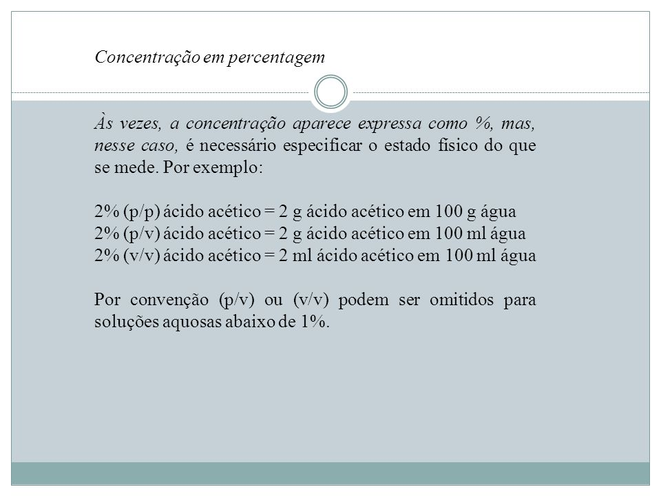 Concentração em percentagem