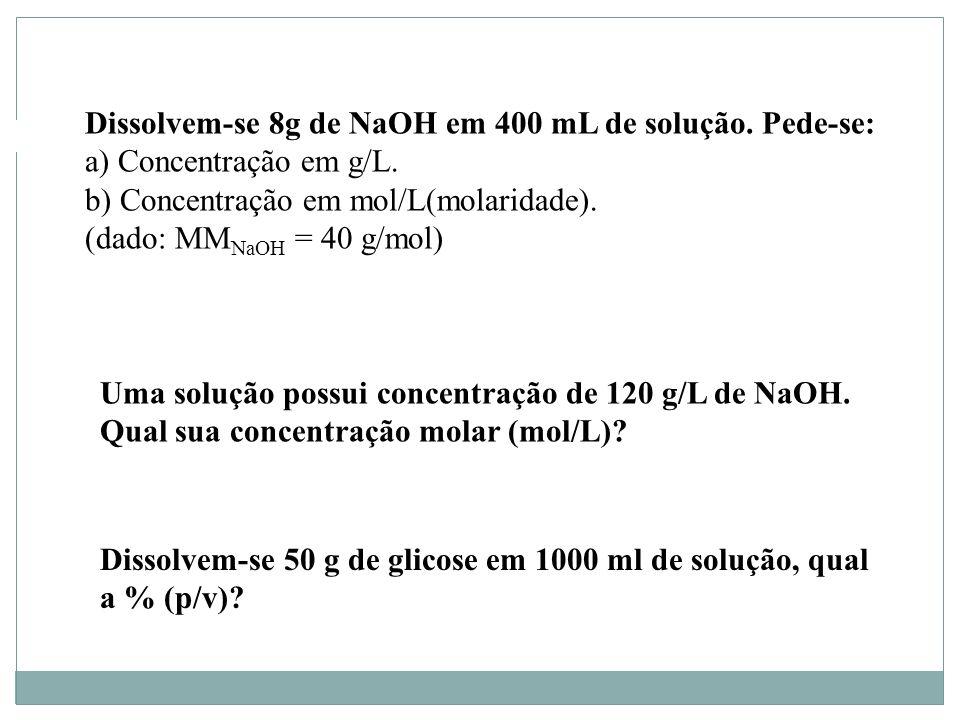 Dissolvem-se 8g de NaOH em 400 mL de solução. Pede-se: