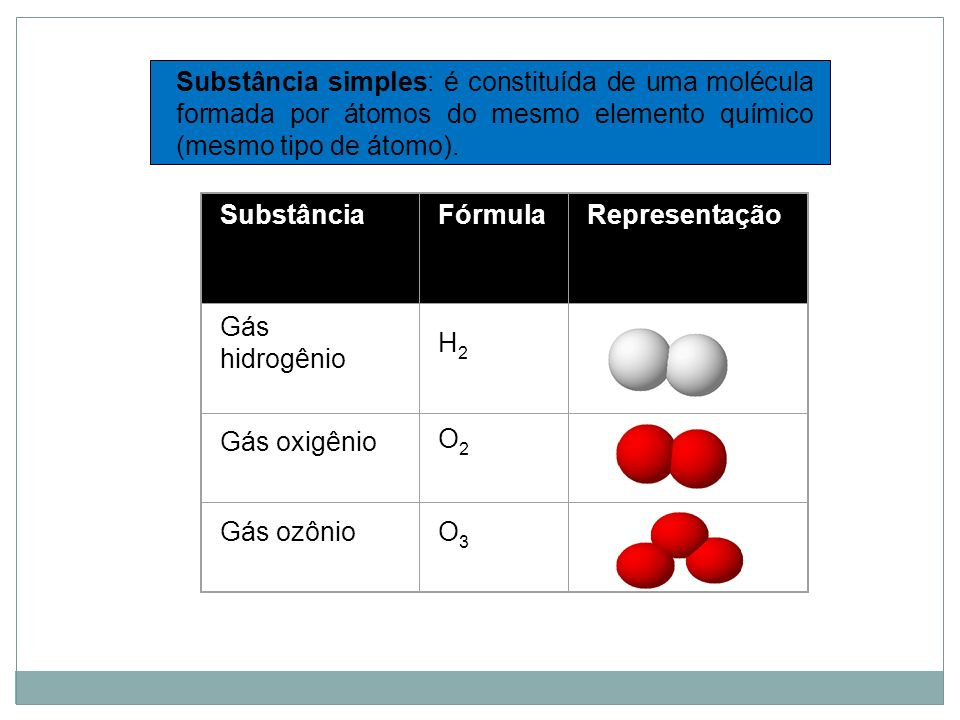 Substância simples: é constituída de uma molécula formada por átomos do mesmo elemento químico (mesmo tipo de átomo).