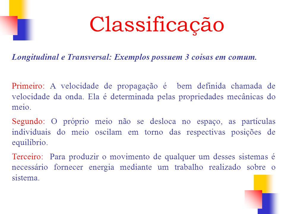 Classificação Longitudinal e Transversal: Exemplos possuem 3 coisas em comum.