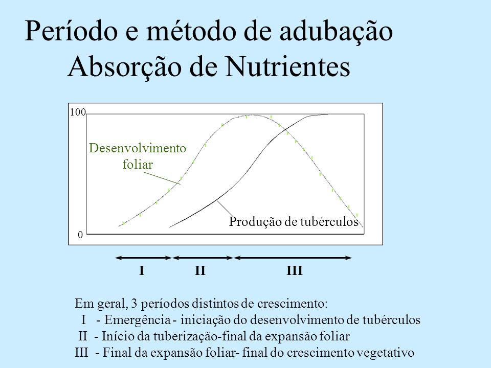 Período e método de adubação Absorção de Nutrientes