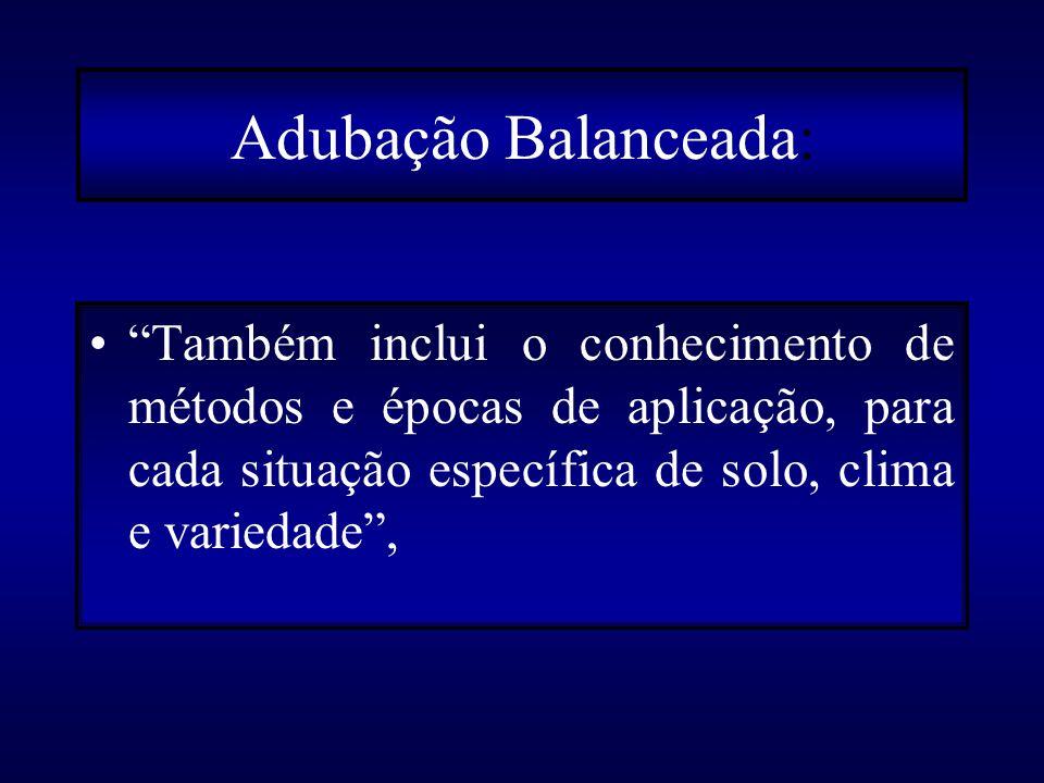Adubação Balanceada: Também inclui o conhecimento de métodos e épocas de aplicação, para cada situação específica de solo, clima e variedade ,