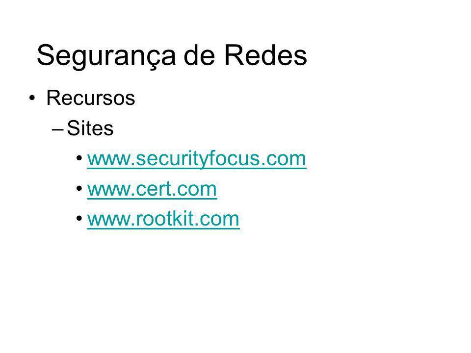 Segurança de Redes Recursos Sites www.securityfocus.com www.cert.com